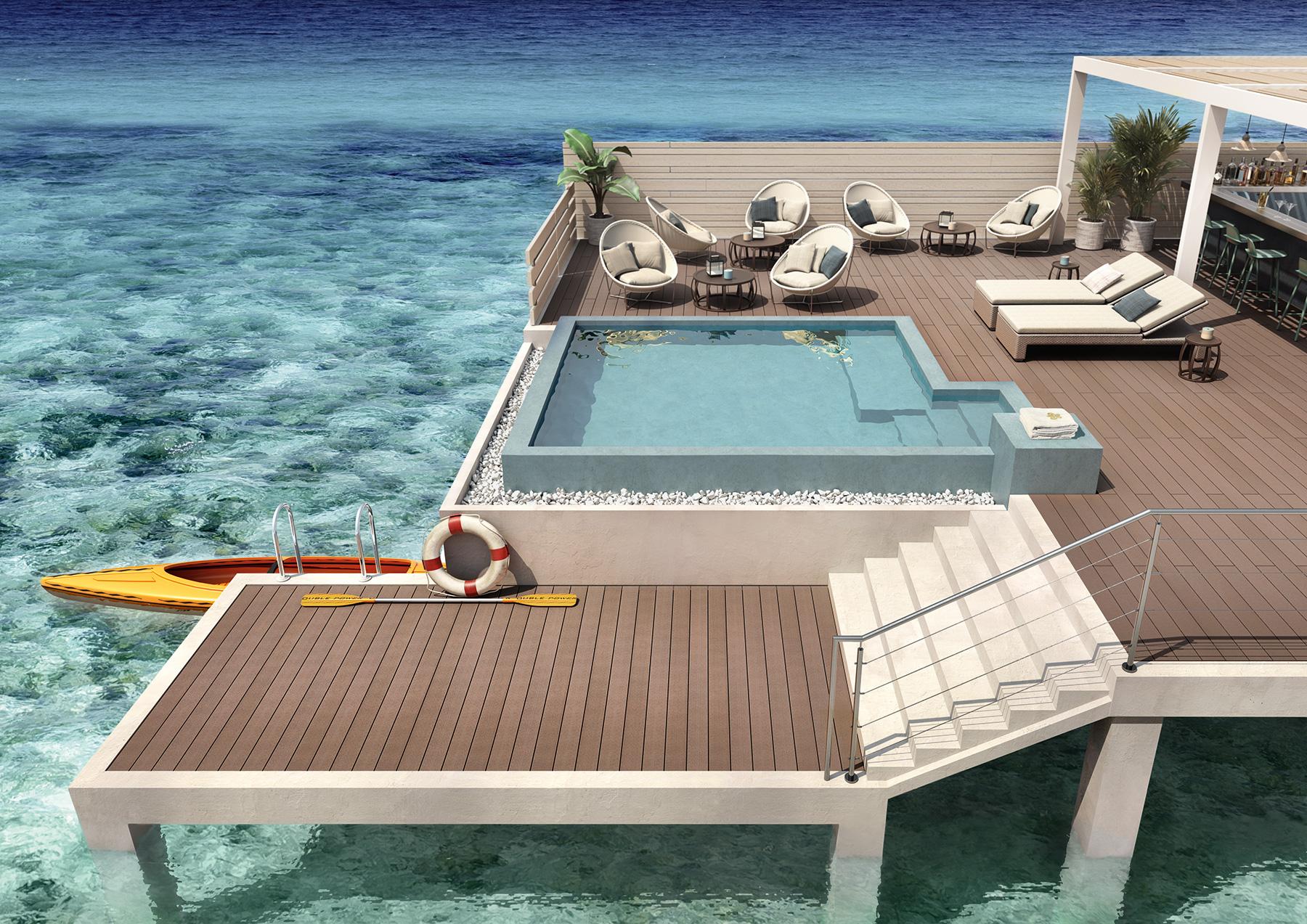 Pavimento in legno per esterno piscina
